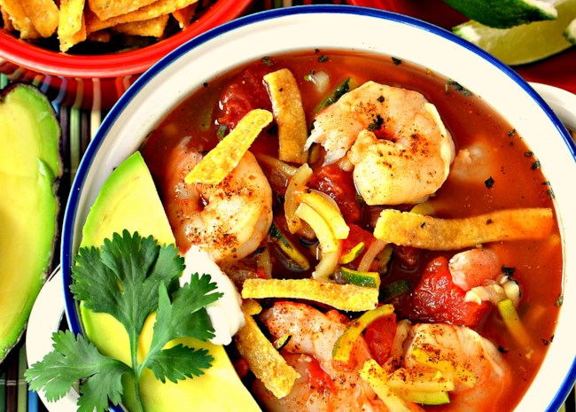 Spicy Shrimp Tortilla Soup with Zucchini Noodles