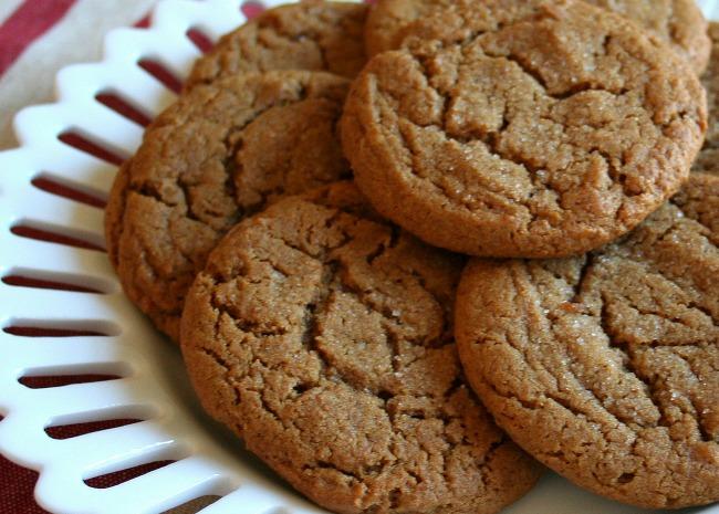 big soft ginger cookies on a plate