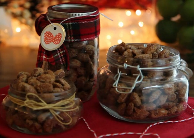 sweet and spicy roasted almonds in a gift jar
