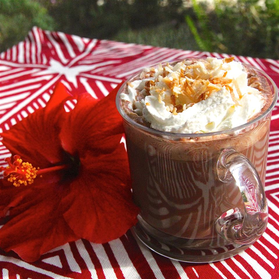 hot chocolate topped with toasted coconut