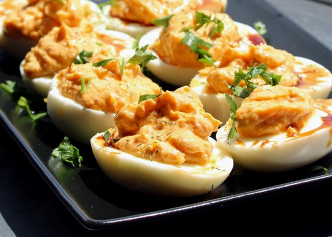 Harissa Deviled Eggs