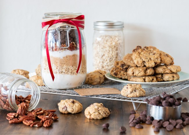Cowboy Cookie Mix in a Jar and baked cookies