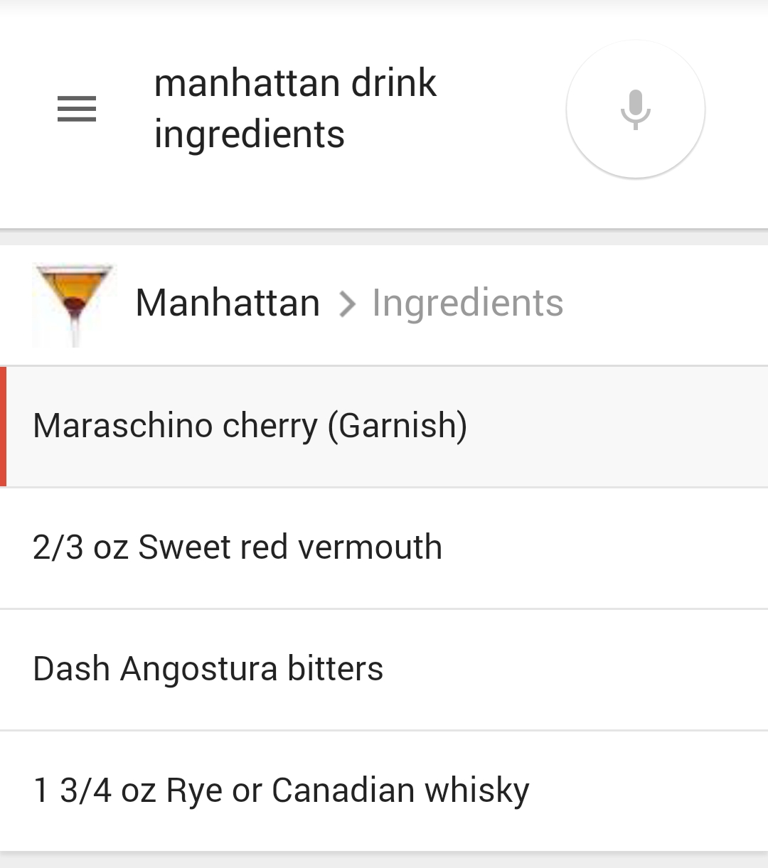 Manhattan Ingredients