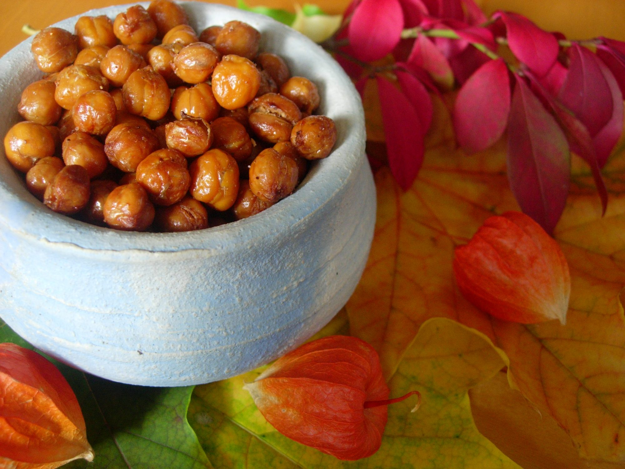 Roasted Chickpeas in white bowl with floral background