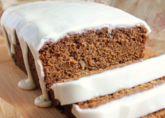 banana gingerbread with vanilla glaze