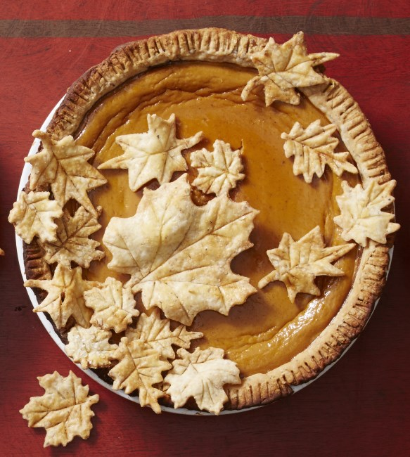 use pastry leave cutout to hide cracks on pumpkin pie