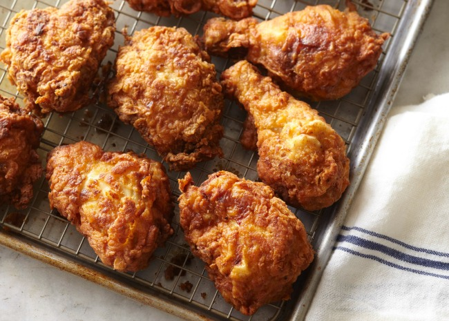 Fried chicken on drying rack
