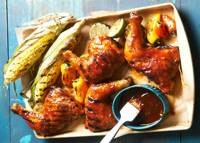 BBQ Chicken with grilled corn