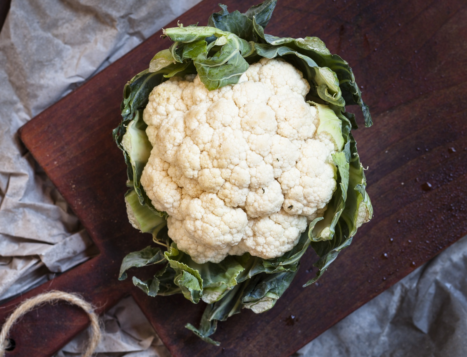 Cauliflower with green attached