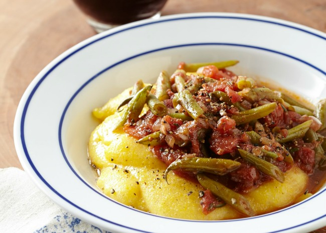 Polenta and Red Sauce with Green Beans