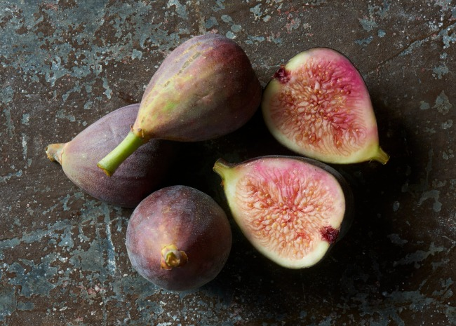 Black Mission figs whole and sliced open
