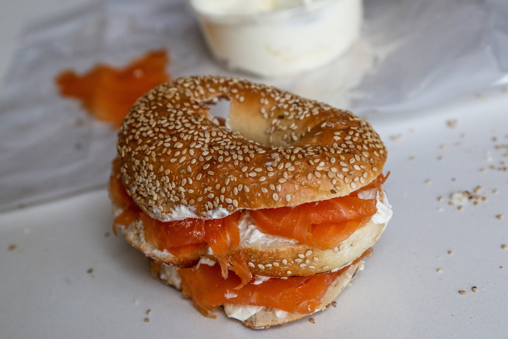 Mobius Bagel Filled with Lox and Cream Cheese