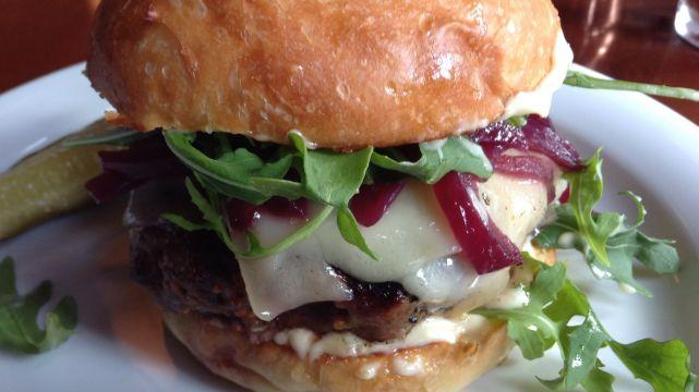 Red wine onion topped lamb burger at Barking Frog in Woodinville, Wash.