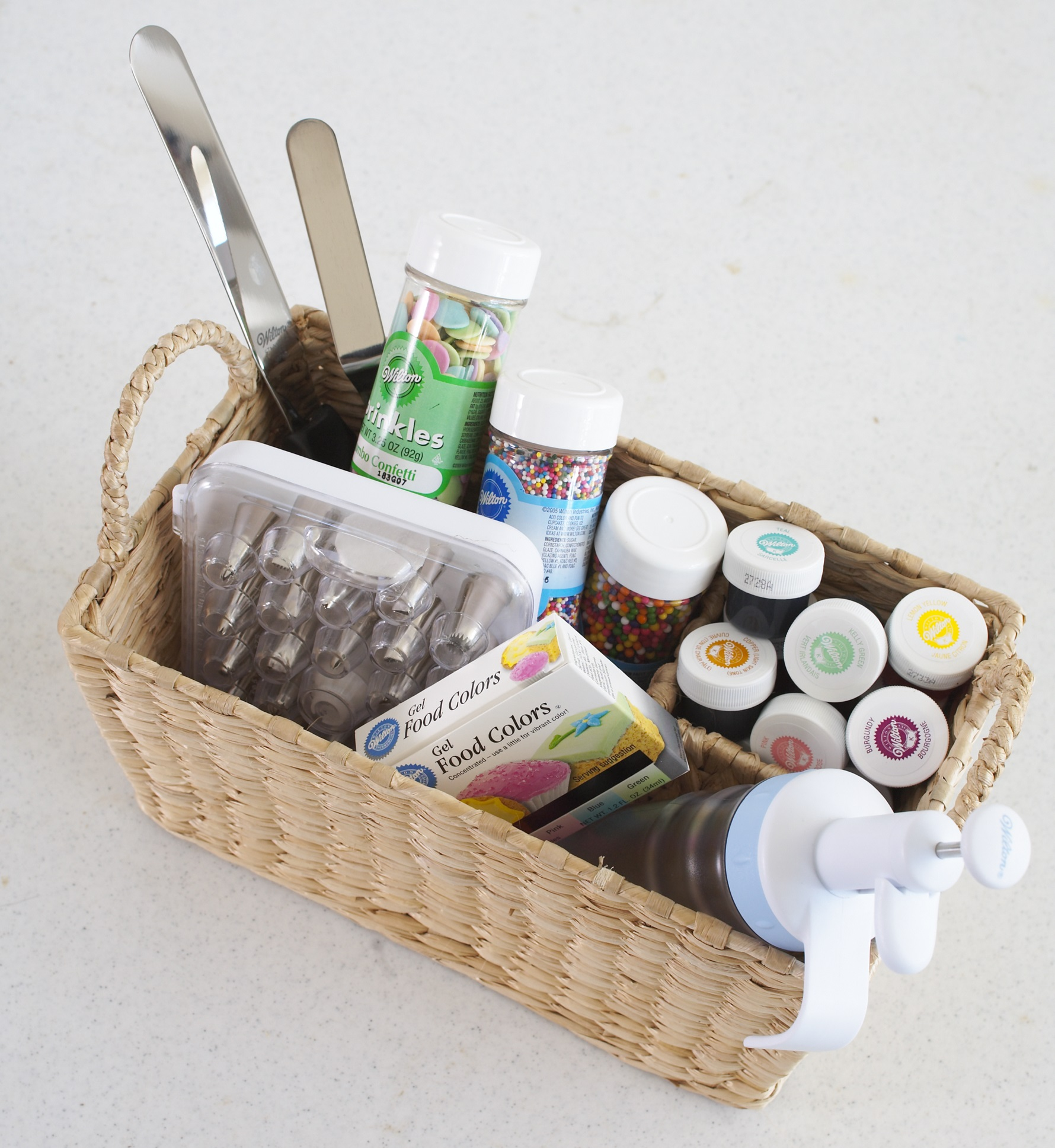 Cake Decorating Supplies in Organized Basket