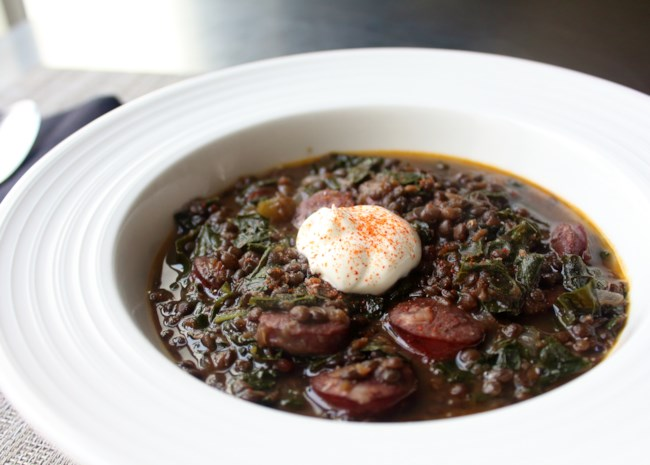 Black Lentil Stew with Sausage and Kale