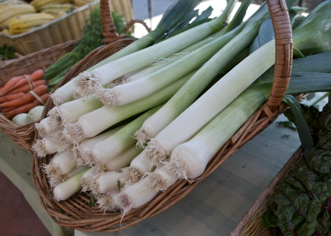 Leeks in a basket