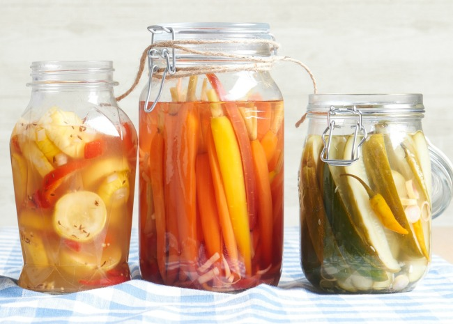 Pickled carrots and cucumbers