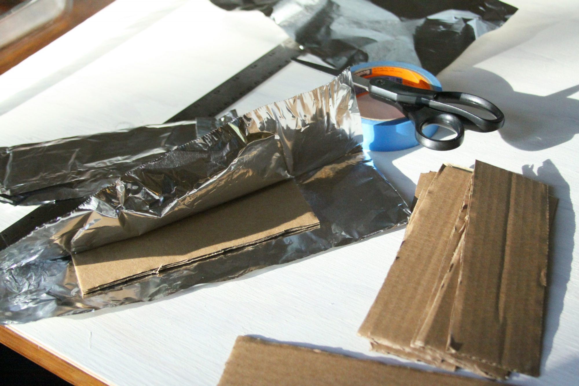 cardboard partitions wrapped in foil