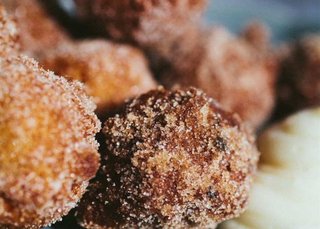 Carrot Cake Donut Holes with Cream Cheese Dip