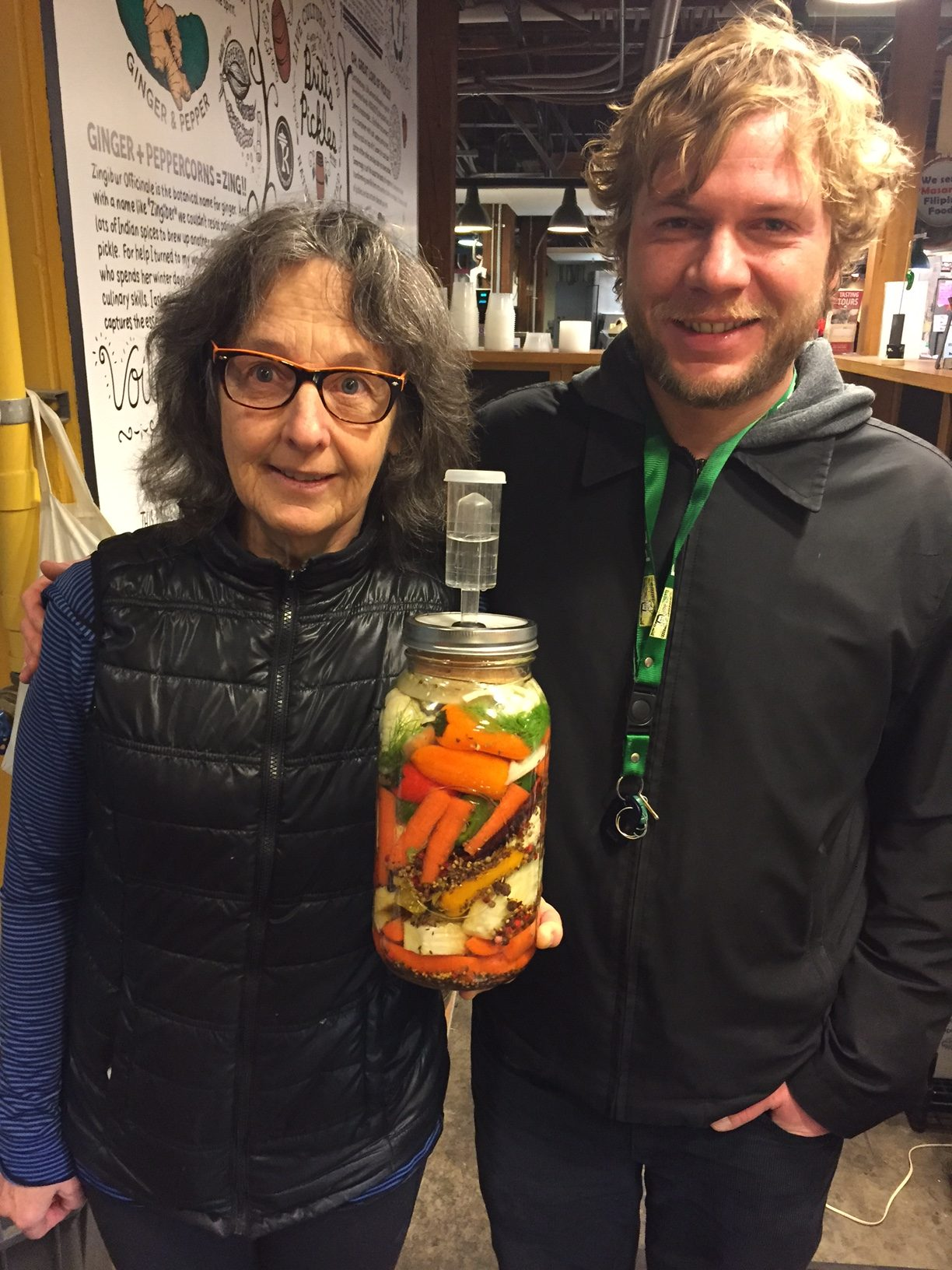 Andrew Berg and Adele Eustis from Britt's Pickles at Seattle's Pike Place Market