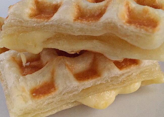 Puff Pastry Waffle with Cheese Sliced and Stacked
