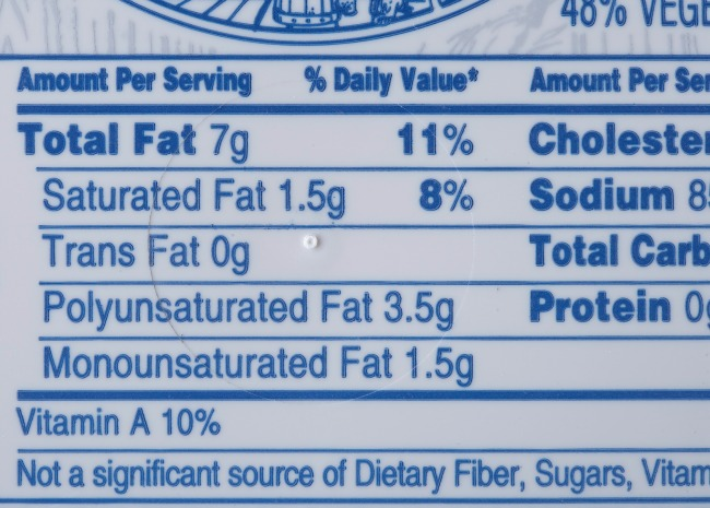 Total Fat Package Label