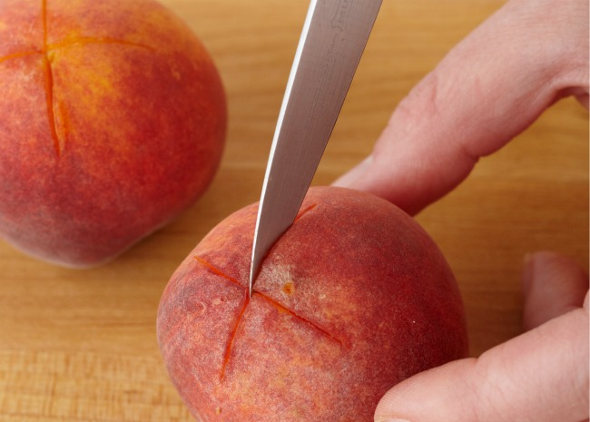 Cut an X in the Bottom of the Peach Before Blanching and Peeling
