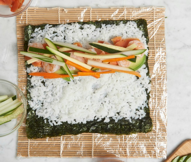 Putting sushi ingredients toward center
