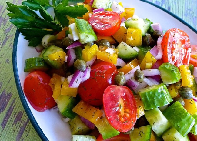 Cucumber Salad with Dill Vinaigrette with capers