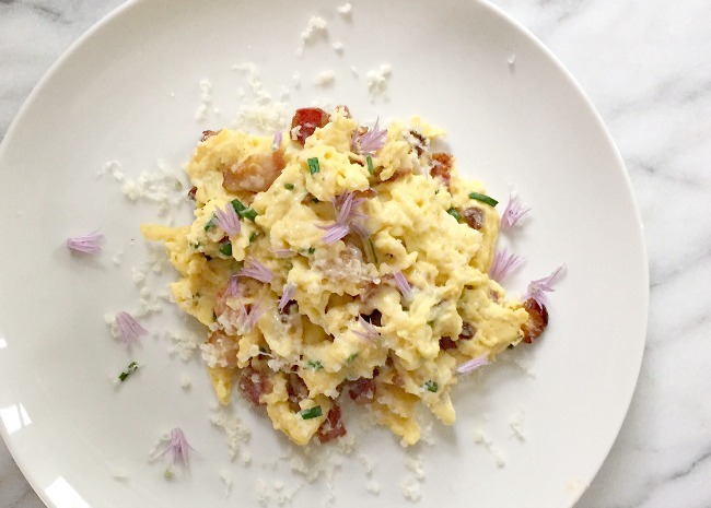 Scrambled Eggs Garnished with Chive Flowers