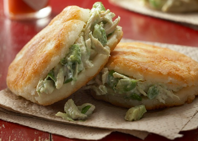 Arepas stuffed with spicy chicken salad