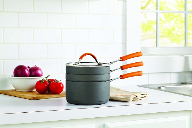 Allrecipes cookware stackable fry and sauce pan