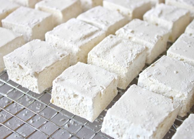 homemade marshmallows on a drying rack
