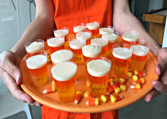 edited candy corn jello shots on a tray photo by Leslie Kelly