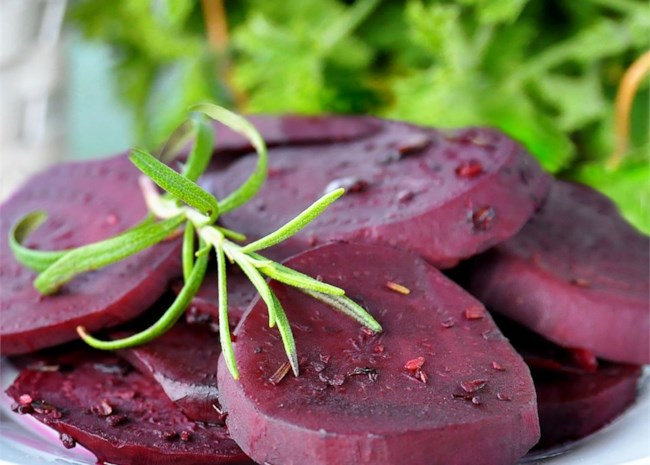 Grilled Beets in Rosemary Vinegar