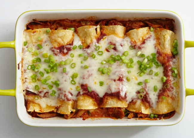 Turkey Enchiladas in a baking dish