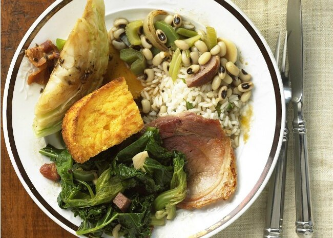 Traditional Southern New Year's black eyed peas, cornbread, and collard greens