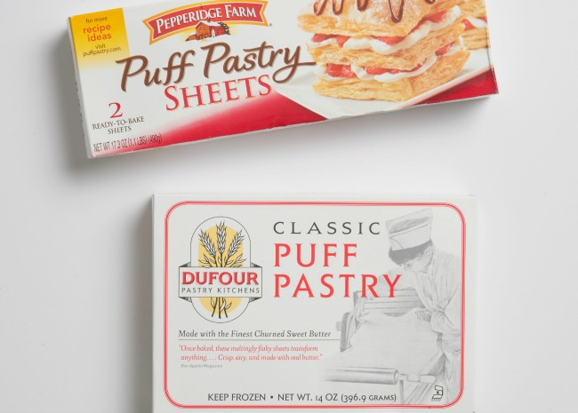 Frozen puff pastry sheets.