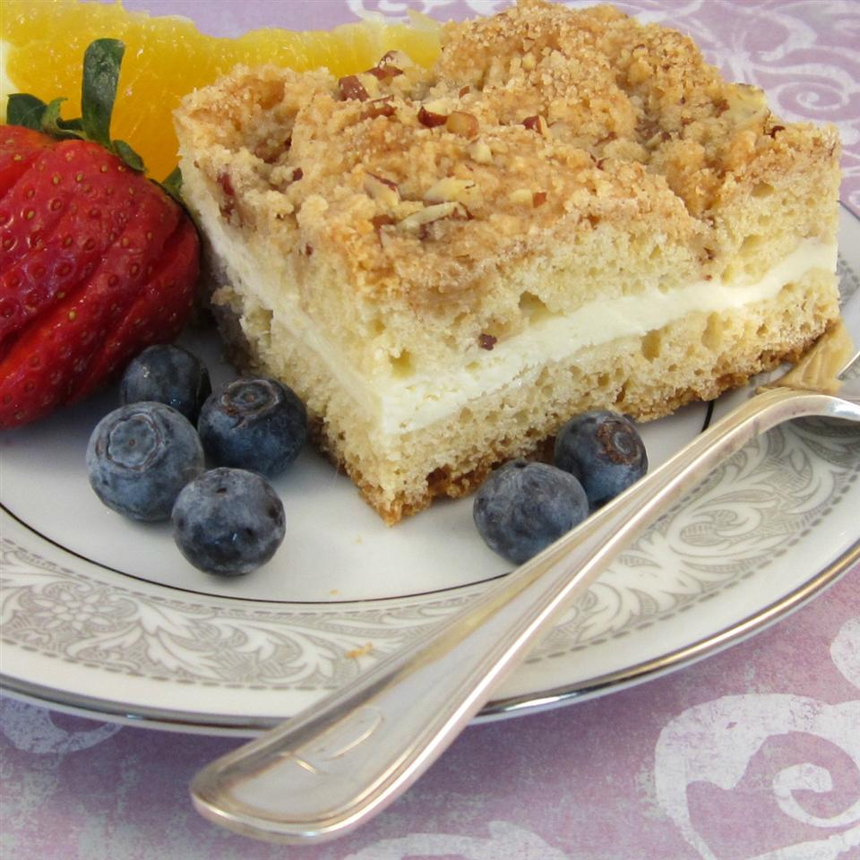 coffee cake with cream cheese filling and streusel topping