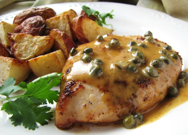 Chicken Breasts in Caper Cream Sauce with roasted potatoes
