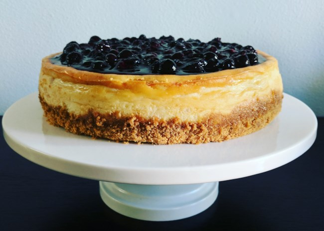 cheesecake topped with berries