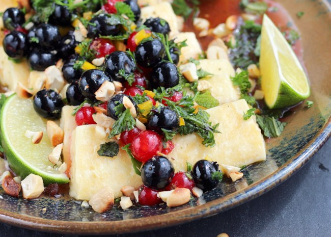 Grilled Halloumi with Herbed Berry Salsa