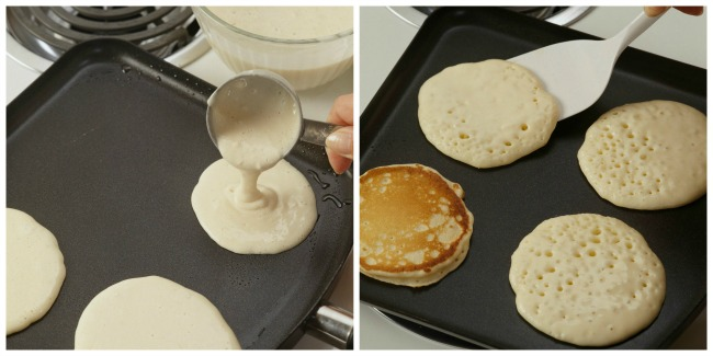 Pouring Batter and Flipping Pancakes