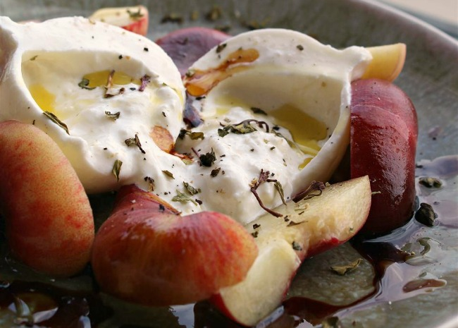 Peaches with Burrata, Basil, and Raspberry Balsamic Syrup