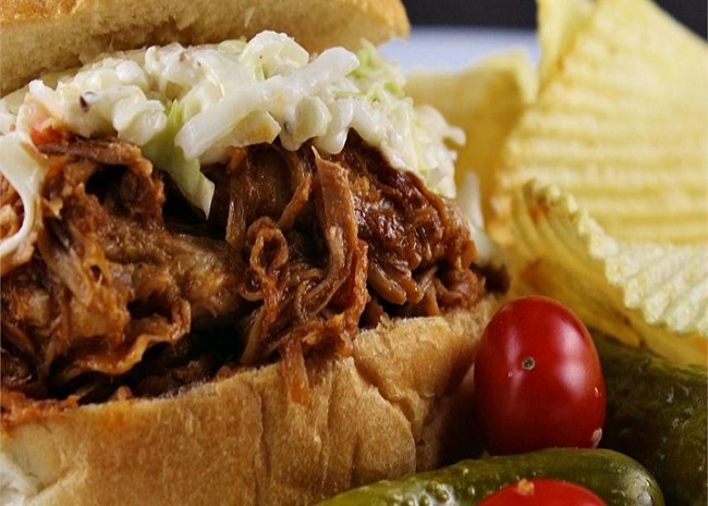 slow cooker barbequed pork for sandwiches. photo by naples34102.