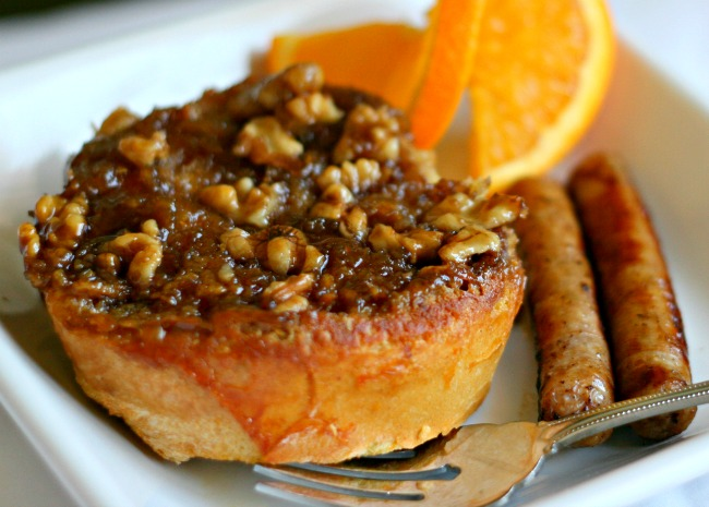 Orange Pecan French Toast breakfast with orange and sausage