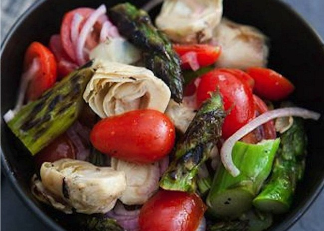 Grilled Eggplant and Asparagus Salad
