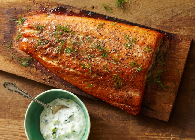 Plank Grilled Salmon with Fresh Dill and Cucumber Sauce