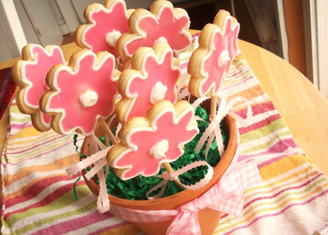 Cut Out Cookies in a Flower Pot