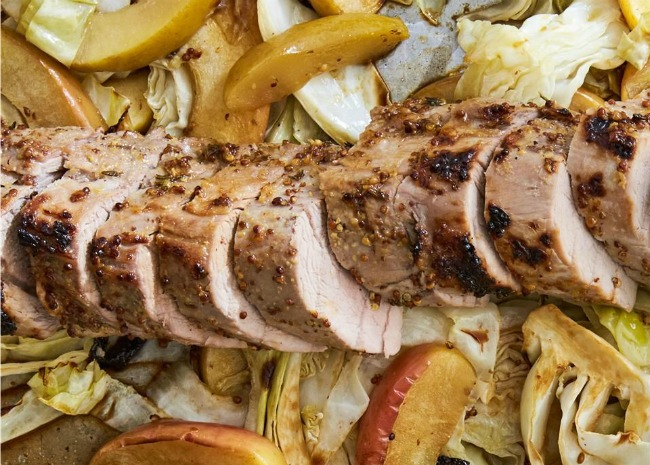 Dijon Pork with Apples and Cabbage